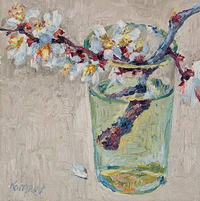 Blossoming Branch In A Glass Art Print by Vitali Komarov