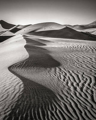 Blowing Sand - Black And White Sand Dune Photograph Art Print