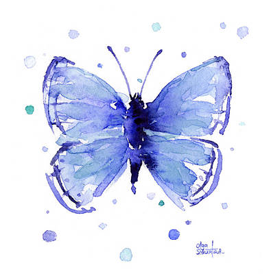Painting - Blue Abstract Butterfly by Olga Shvartsur