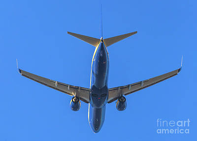 Photograph - Blue Airplane Takeing Off by Benny Marty