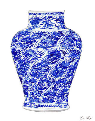 Ancient Scroll Painting - Blue And White Ginger Jar Chinoiserie 4 by Laura Row