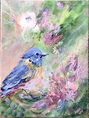 Blue Bird Bouquet Art Print
