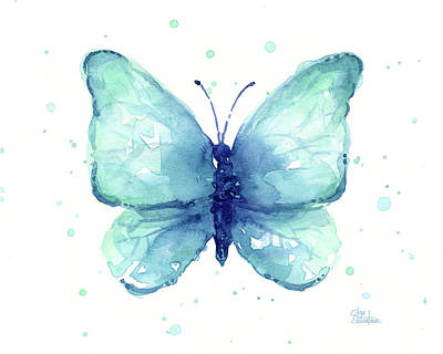 Painting - Blue Butterfly Watercolor by Olga Shvartsur