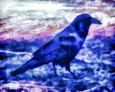 Digital Art - Blue Crow by Priya Ghose
