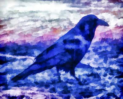 Birds Digital Art - Blue Crow by Priya Ghose