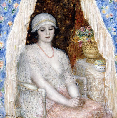 Looking Down Painting - Blue Curtains by Frederick Carl Frieseke