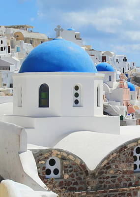 Photograph - Blue Domes Of Orthodox Churches, Santorini, Greece by Elenarts - Elena Duvernay photo