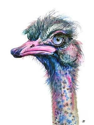 Painting - Blue-eyed Ostrich by Zaira Dzhaubaeva