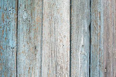 Blue Fading Paint On Wood Art Print by John Williams