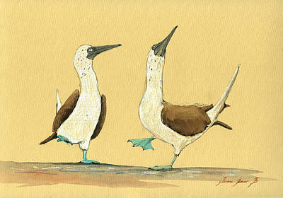 Bird Painting - Blue Footed Boobies by Juan  Bosco