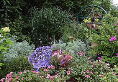 Photograph - Blue Garden Bench by Allen Nice-Webb