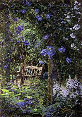 Blue Garden Respite Print by Doug Kreuger