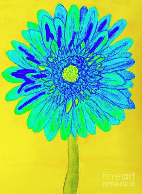 Painting - Blue Gerbera, Painting by Irina Afonskaya