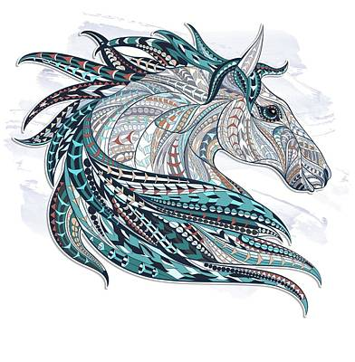 Painting - Blue Gray Ethnic Horse by Aloke Creative Store