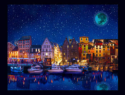 Digital Art - Blue Harbor by Michael Pittas