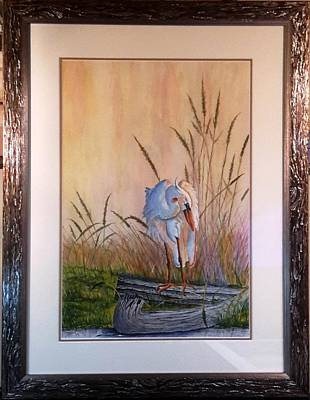 Blue Heron On A Log  Art Print