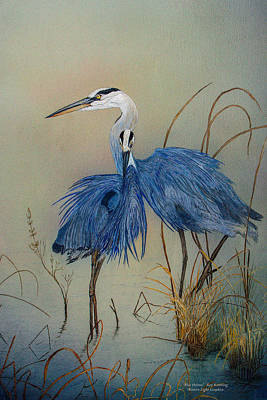 Painting - Blue Herons by Roy Kastning