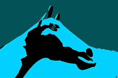 Horse Head Digital Art - Blue Horse by David Lee Thompson