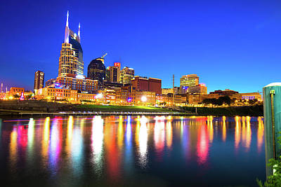 Photograph - Blue Hour Over The Nashville Skyline by Gregory Ballos