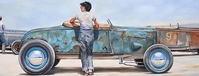 Hot Rod Wall Art - Painting - Blue June by Ruben Duran