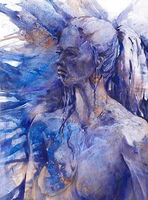 Slash Painting - Blue Lady by Joan  Jones