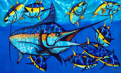 Salt Water Game Fish Painting - Blue Marlin by Daniel Jean-Baptiste
