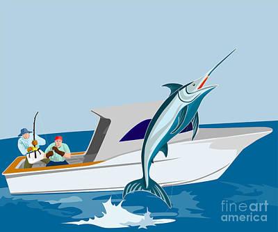 Blue Marlin Jumping Art Print by Aloysius Patrimonio