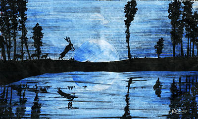 Buck And Doe Painting - Blue Moon by Kacey Thorn
