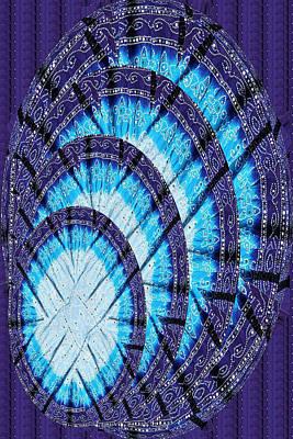 Blue Moon Shine Chandelier Created Out Of Ethnic Jaipur Fashion Fabric Cotton Vegitable Color Printe Art Print by Navin Joshi