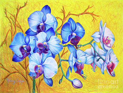 Painting - Blue Orchids #2 by Nancy Cupp