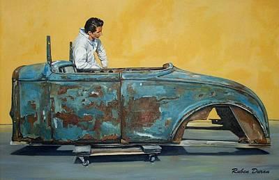 Hot Rod Wall Art - Painting - Blue Oxide by Ruben Duran