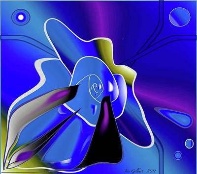Digital Art - Blue Rose by Iris Gelbart