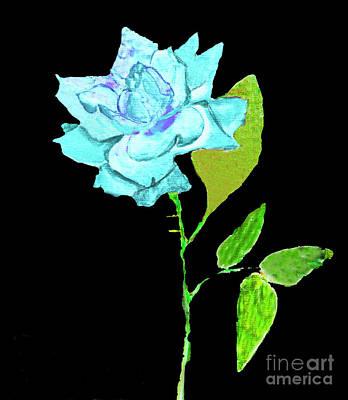 Painting - Blue Rose, Painting by Irina Afonskaya