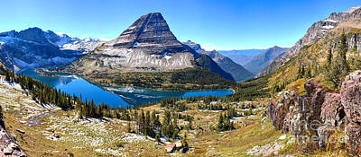 West Glacier Photograph - Blue Skies Over Hidden Lake Panorama by Adam Jewell