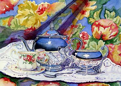 Teapot Painting - Blue Sky Tea by Lori  Andrews