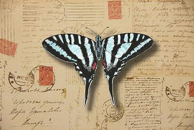 Painting - Blue Swallowtail Butterfly by Masha Batkova