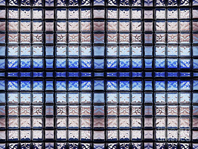 Firefighter Patents - Blue toned glass brick window abstract  by Arletta Cwalina