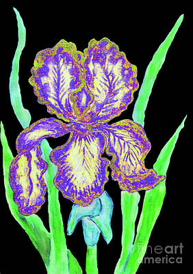 Painting - Blue-yellow Iris, Painting by Irina Afonskaya