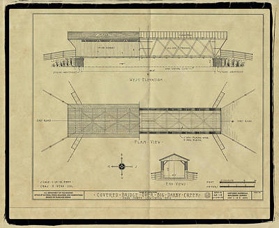 Music Royalty-Free and Rights-Managed Images - Newton Falls Covered Bridge Blueprint by Jack R Perry