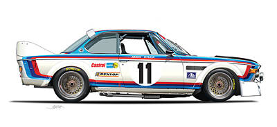 Illustration Drawing - Bmw 3.0 Csl Chris Amon, Hans Stuck by Alain Jamar