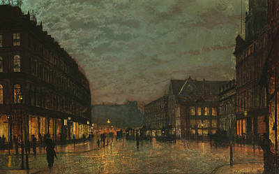 Leeds Painting - Boar Lane Leeds By Lamplight by John Atkinson Grimshaw
