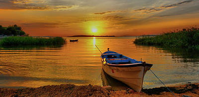 Photograph - Boat At Sunset by Lilia D