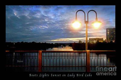 Austin Texas Photograph - Boat, Lights, Sunset On Lady Bird Lake by Felipe Adan Lerma