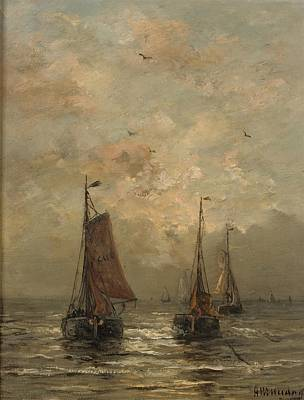 Scheveningen Painting - Boating At Dusk by Hendrik Willem