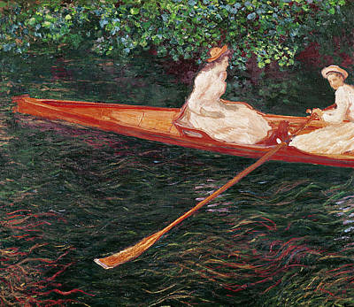 Two Girls Painting - Boating On The River Epte by Claude Monet