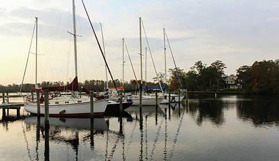 Boats And Reflections Art Print by Carolyn Ricks