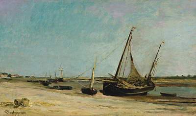 France Painting - Boats On The Seacoast At Etaples by Charles-Francois Daubigny