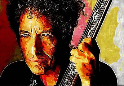 Rock Painting - Bob Dylan by Galeria Zullian  Trompiz
