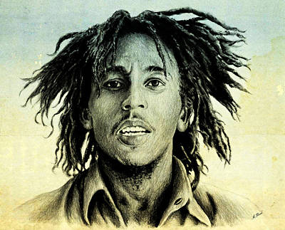 Musicians Drawings - Bob Marley by Andrew Read