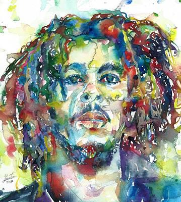 Painting - Bob Marley Portrait by Fabrizio Cassetta